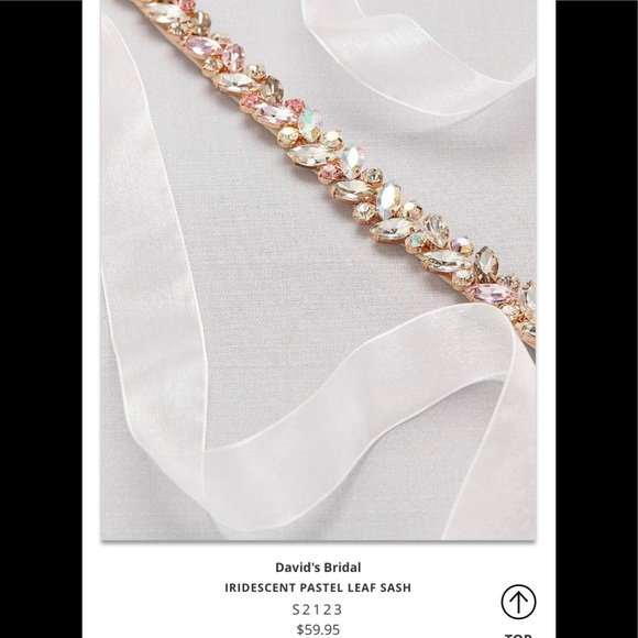 David S Bridal Iridescent Pastel Leaf Sash